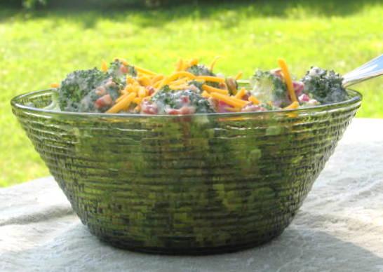 Salad in vintage glass bowl Soreno green