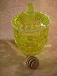 Vaseline glass honey jar Mosser glass