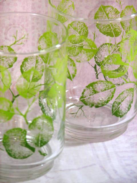 glassware leaf motif