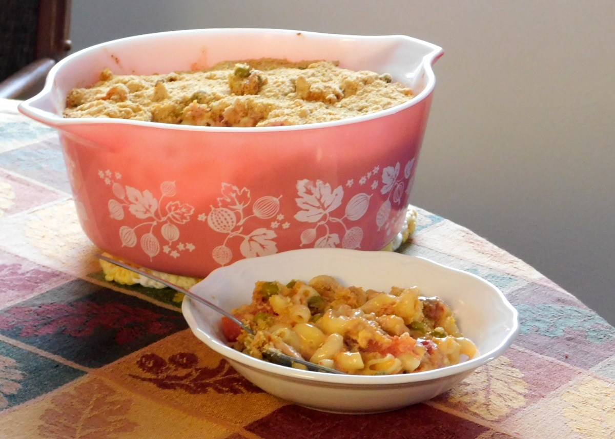 Pyrex pink gooseberry casserole with tuna recipe