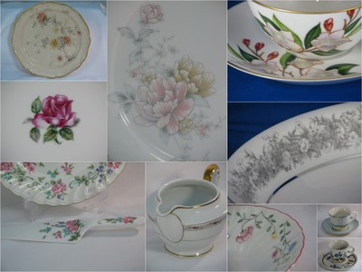 Vintage china carefully selected to complement a wedding theme
