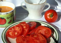Fresh tomatoes vintage dinnerware