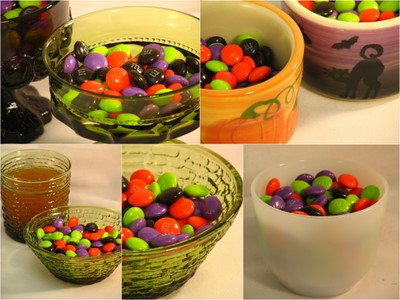 Use vintage dishes to serve Halloween candy party at home