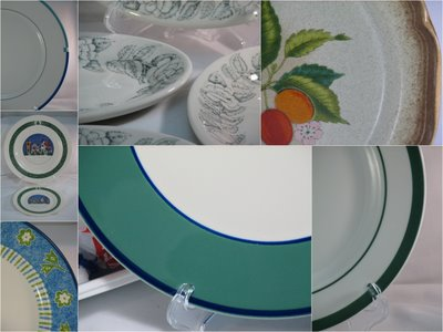 Vintage dinnerware and china plates in different sizes