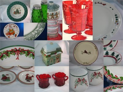 Red green Christmas dinnerware glassware