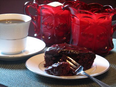 Homemade chocolate cake on vintage china great for snacks