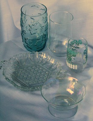mixed vintage glassware