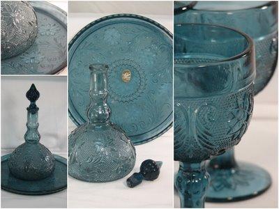 Tiara glass blue decanter vintage