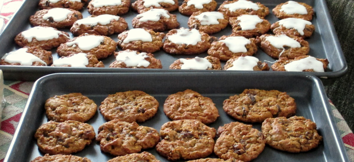 Iced Oatmeal cookies before and after