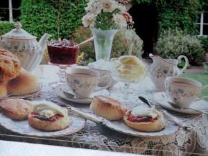 Glassware adds to china tea setting