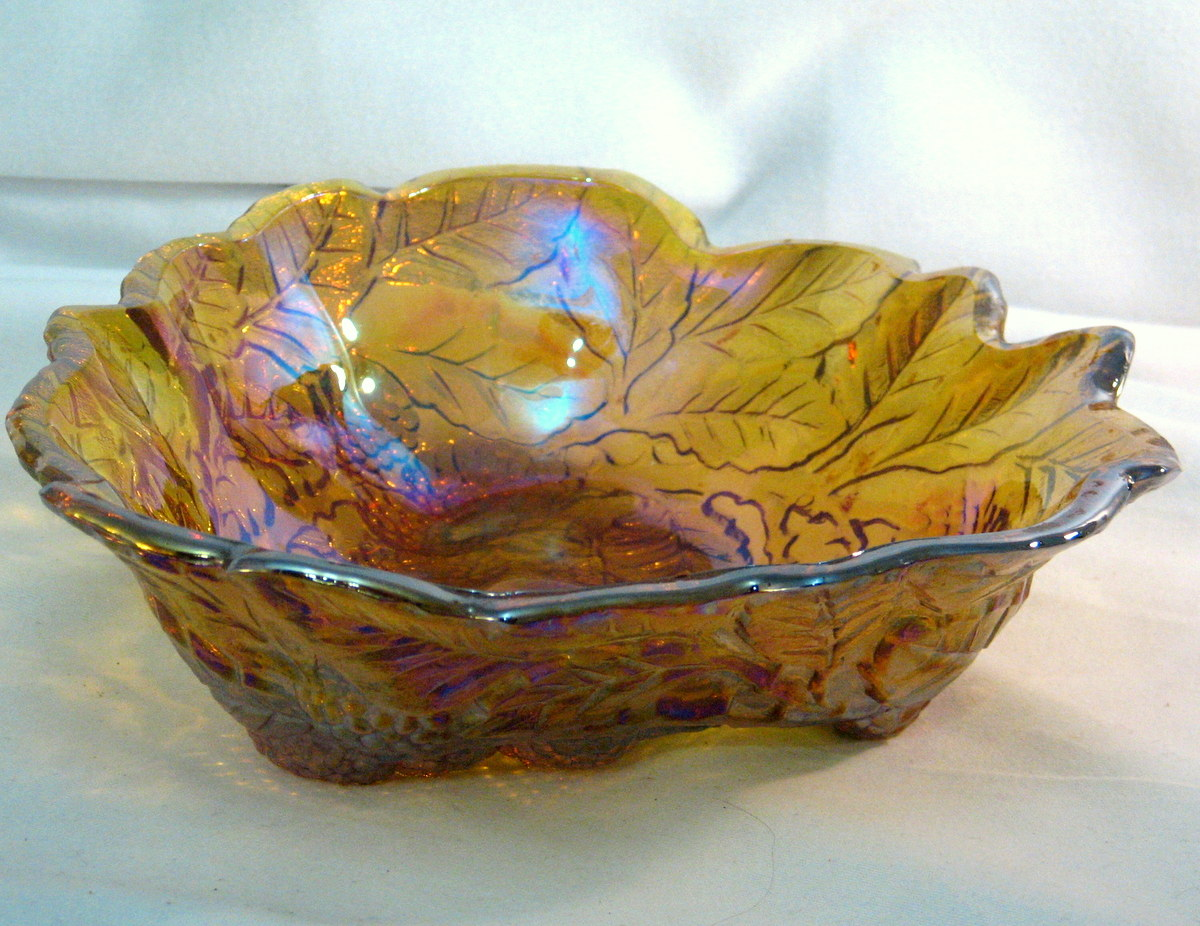 Amber Loganberry bowl Iridescent finish