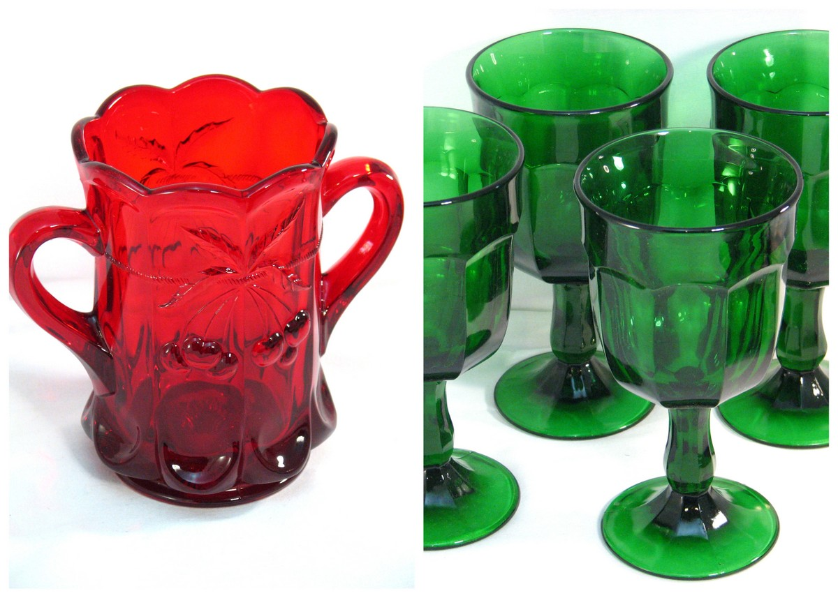 Mosser glassware red spooner green goblets