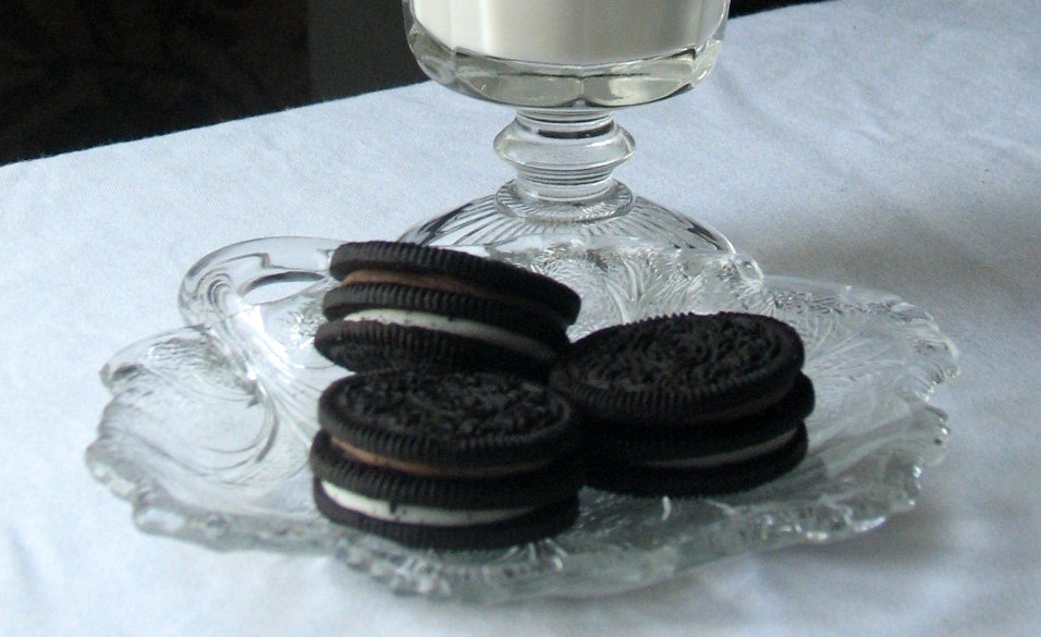 Oreo cookies served on vintage glass nappy