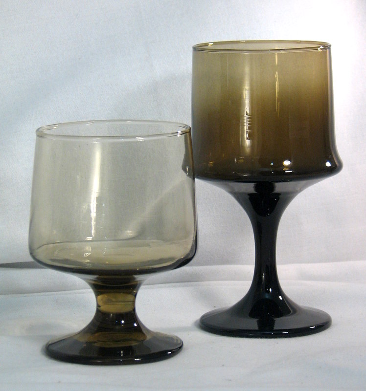 Vintage Libbey glassware Impromptu and Accent in tawny brown