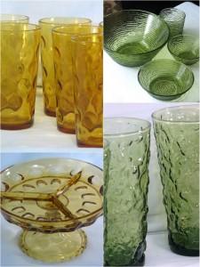 Bold color vintage glassware