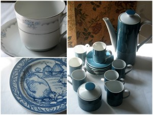 Selection of blue and white china dinnerware