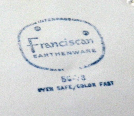 Vintage Franciscan dinnerware mark
