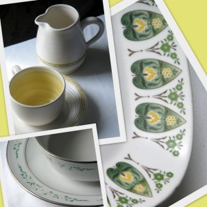 Vintage dinnerware green and yellow
