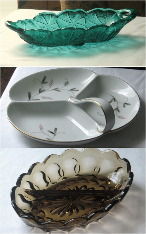 glass and china pickle or relish dishes