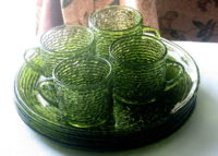Soreno green glass snack sets Vintage