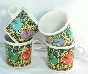 Fiesta china mugs Dancing jugs