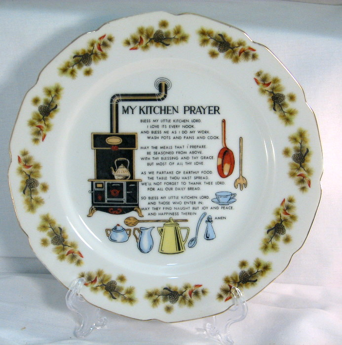 Vintage kitchen prayer plates decorating charm - Decorating with plates in kitchen ...