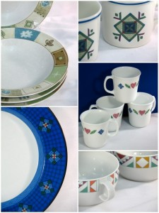 Quilt designs on dinnerware