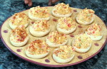 Deviled eggs on Hartstone egg plate Rustic Apple