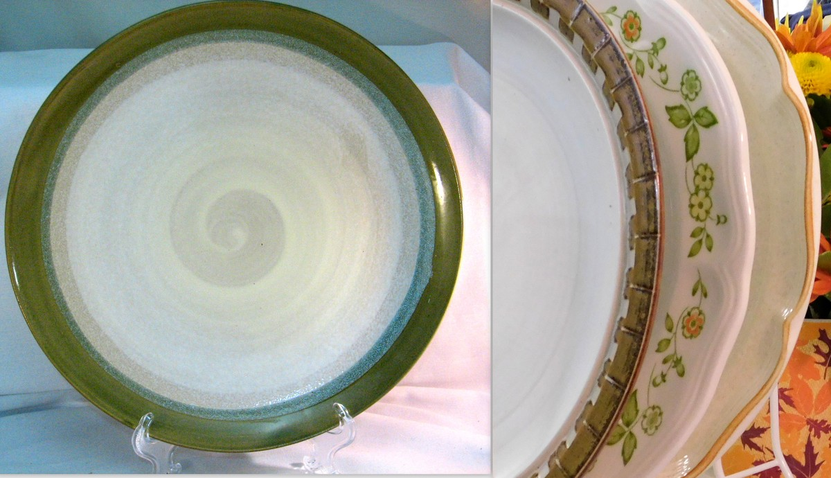 Selection of vintage chop platters