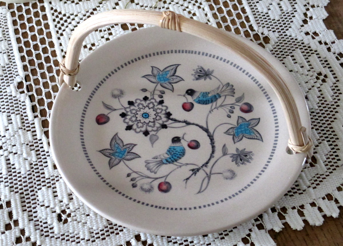 Bamboo handle server Johnson Bros china handcrafted & Complementing Vintage Dinnerware - Cherry Thieves