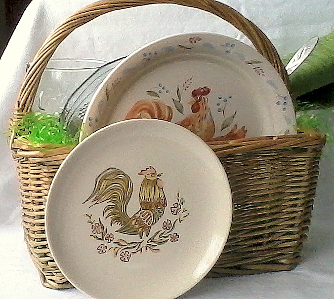 Creative Easter basket features vintage dinnerware