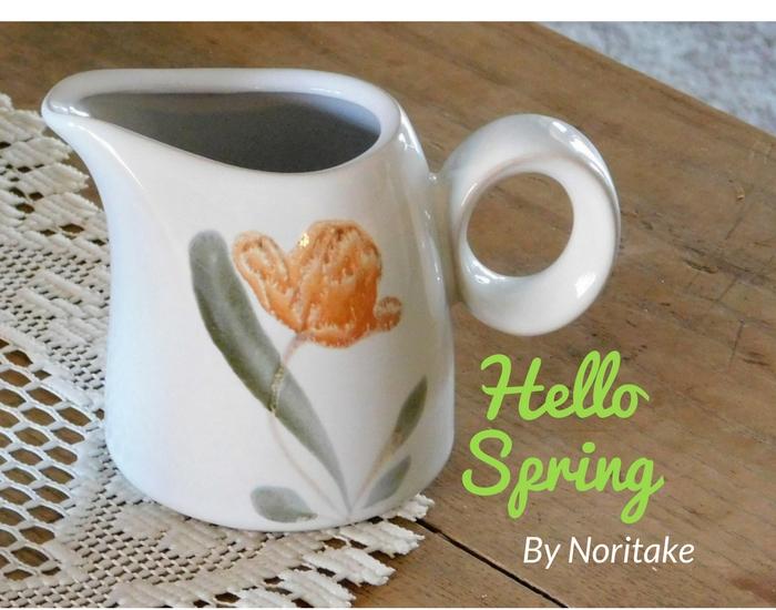 Stoneware ccreamer Hello Spring pattern by Noritake