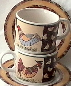 Mismatched cups and saucers in unique pairs