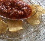 Swedish Modern glass with salsa and chips