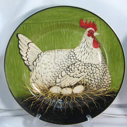 Hen motif china salad plate Warren Kimble