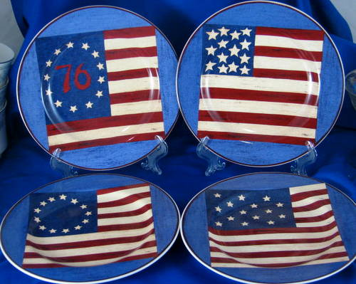 Set of flag motif salad plates Warren Kimble
