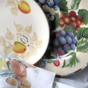 Fall fruits dinnerware close up
