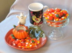 Halloween dishes and candy