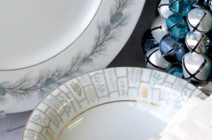 Vintage dinnerware for holiday table setting