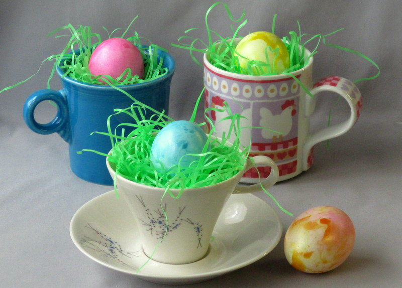 Easter eggs in vintage china