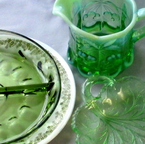 retro glassware and Corelle