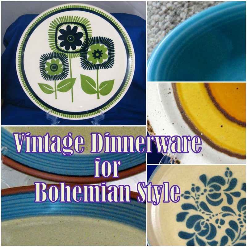 Bohemian style vintage dishes