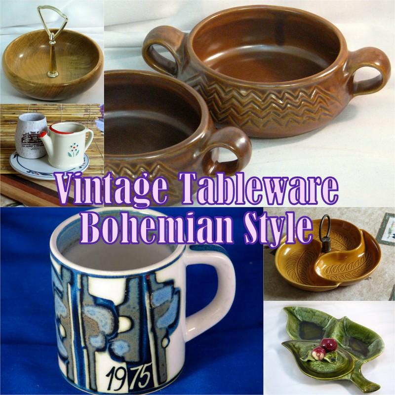 Bohemian style vintage tableware