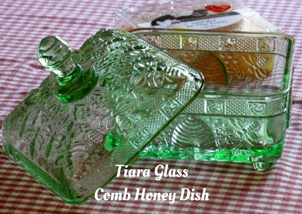 Green glass honey dish by Tiara