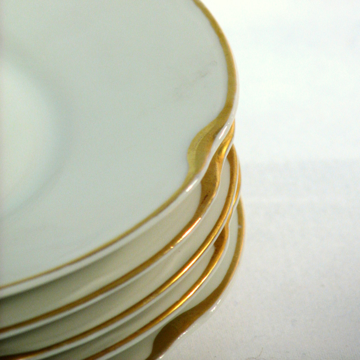 Antique gold rim dessert plates