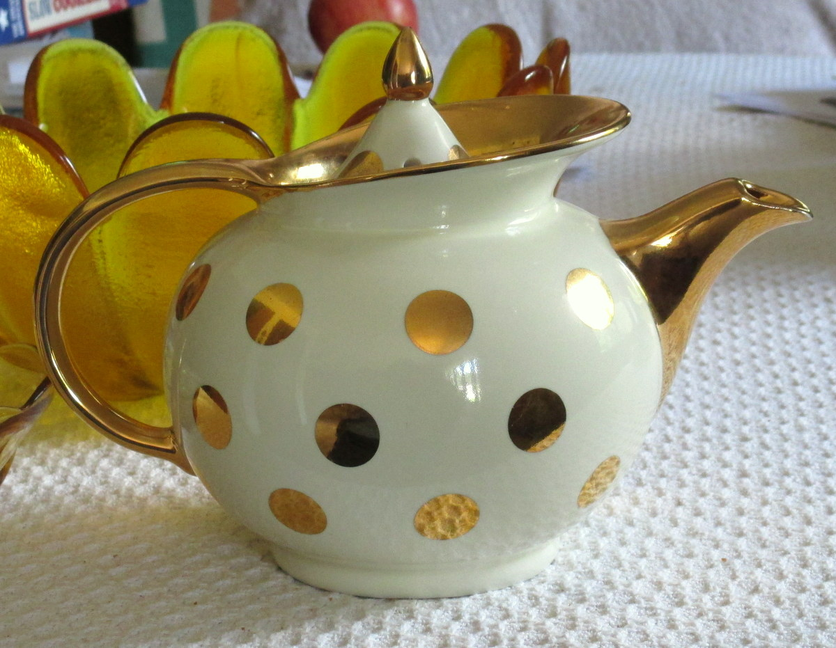 Vintage Hall teapot gold dots
