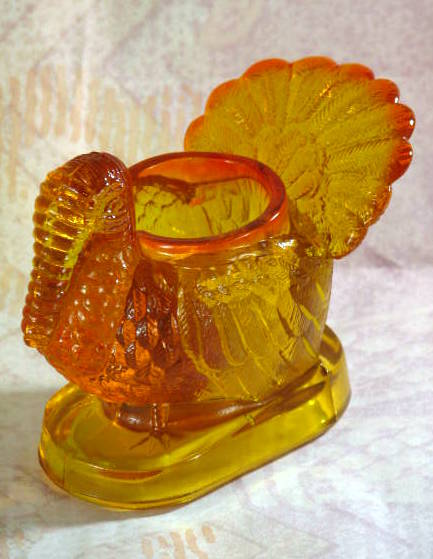 Mosser Glass turkey marigold toothpick holder