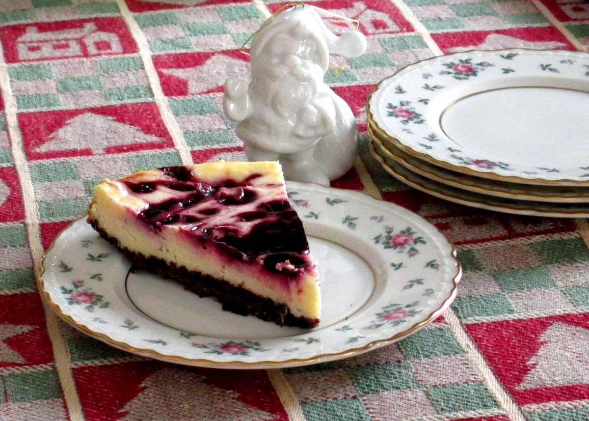 Cheesecake on Sweet Briar plate with Santa approval