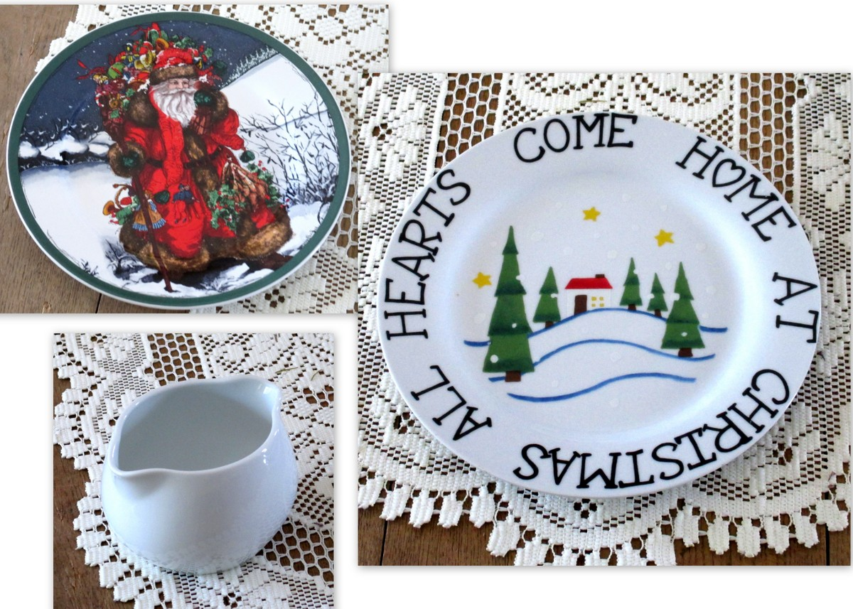 Christmas dinnerware found in vintage shop & I Shop Vintage Christmas in July