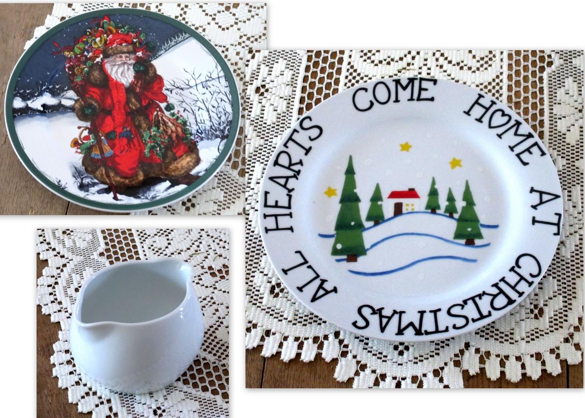 christmas dinnerware found in vintage shop